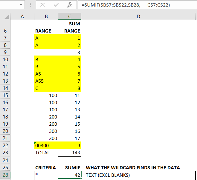 EXCEL WILDCARDS FIGA3