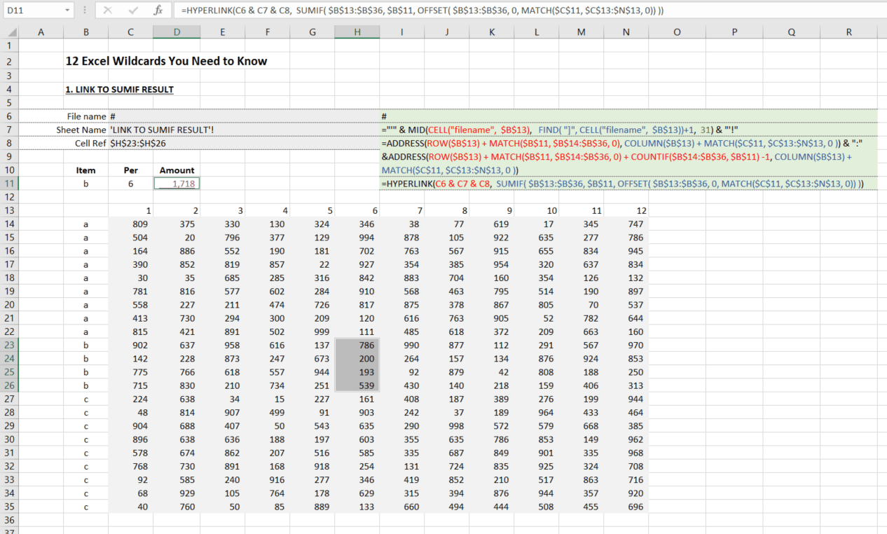 EXCEL HYPERLINK TO SUMIF RESULT A7